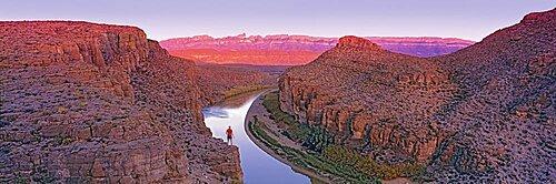High angle view of a river running through rocks, Rio Grande, Big Bend National Park, Texas, USA