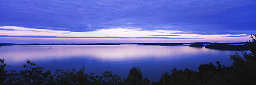 High angle view of a lake, Frenchmans Bay, Acadia National Park, Maine, USA