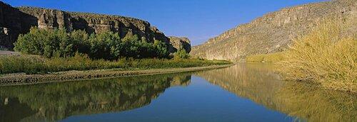 Reflection of a mountain in a river, Rio Grande River, Big Bend National Park, Texas, USA