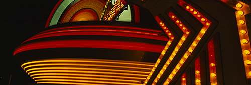 Amusement park rides lit up at night, Eureka, Humboldt County, California, USA