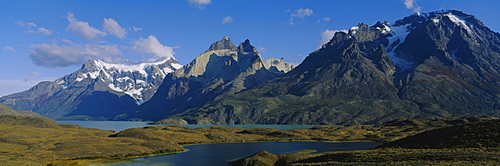 Lake in front of mountains, Jagged Peaks, Lago Nordenskjold, Torres Del Paine National Park, Patagonia, Chile