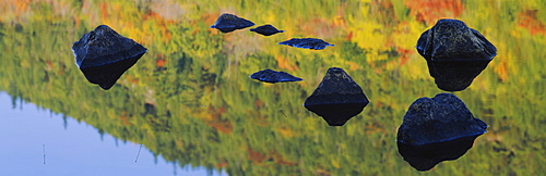 Reflection of stones in water, Bubble Pond, Acadia National Park, Maine, New England, USA