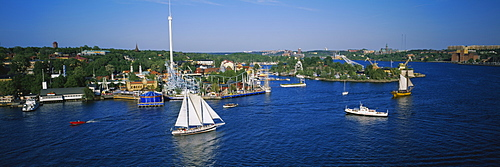 High angle view of sailboats in a lake, Gronalund, Djurgarden, Stockholm, Sweden