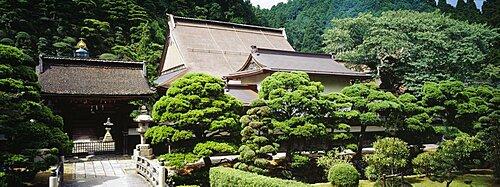 Monastery surrounded by trees, Koyasan, Japan