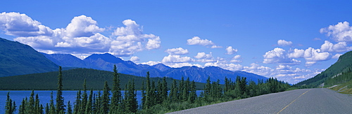 Highway near a lake, Pickhandle Lake, Yukon, Canada