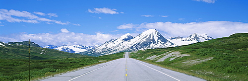 Road leading to mountains, Haines Highway, St. Elias Mountains, British Columbia, Canada