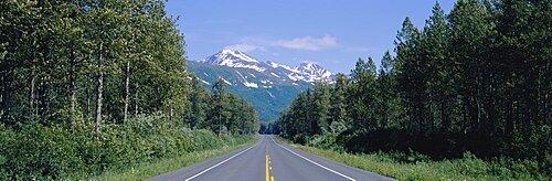 Highway passing through a landscape, Richardson Highway, Alaska, USA