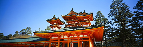 Low angle view of a pagoda, Heian Jingu Shrine, Kyoto City, Kyoto Prefecture, Kinki Region, Japan