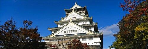 Low angle view of a castle, Osaka Castle, Osaka Prefecture, Kinki Region, Japan