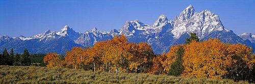 Panoramic view of mountains, Grand Teton, Teton Range, Grand Teton National Park, Wyoming, USA