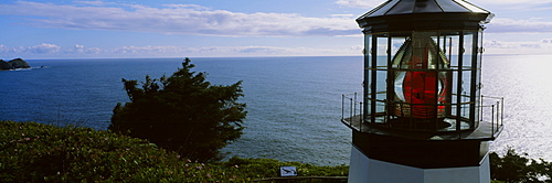 Lighthouse at the waterfront, Cape Meares Lighthouse, Cape Meares, Oregon, USA