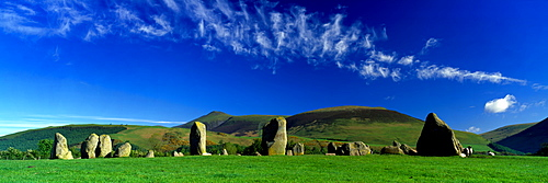 Stone Circle On A Landscape, Castlerigg Stone Circle, Keswick, Lake District, Cumbria, England, United Kingdom