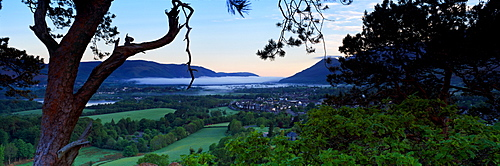 High Angle View Of A Town, Keswick, Lake District National Park, Cumbria, England, United Kingdom
