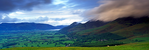 High Angle View Of A Valley, Skiddaw, Lake District National Park, England, United Kingdom