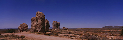 Rock formations on an arid landscape, New Mexico, USA