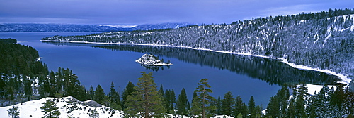 Reflection of trees in water, Emerald Bay, Dl Bliss State Park, Lake Tahoe, California, USA