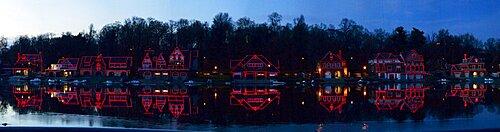 Boathouse at the waterfront, Schuylkill River, Philadelphia, Pennsylvania, USA