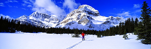 Skier Ptarmigan Peak Wall of Jericho Skoki Valley Banff National Park Alberta Canada