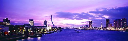Dusk Rhine River Rotterdam Netherlands