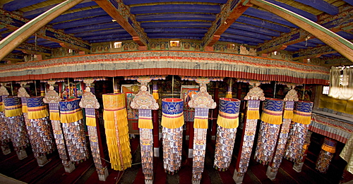 Fisheye view from the roof into the main assembly hall, Drepung monastery, Lhasa, Tibet, China, Asia