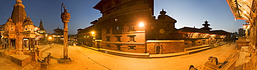 Durbar Square at dawn, including a statue of King Yoganendra Malla on top of a stone column, the Royal Palace, now the Patan Museum, and the brick base of the Hari Shankar Mandir, UNESCO World Heritage Site, Patan, Kathmandu, Nepal, Asia