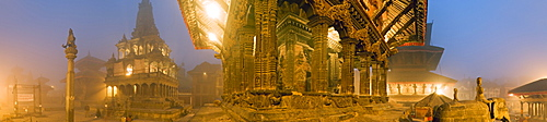 The Bishwanath Mandir, and to the left the Krishna Mandir in dawn mist, Durbar Square, Patan, Kathmandu valley, Nepal, Asia