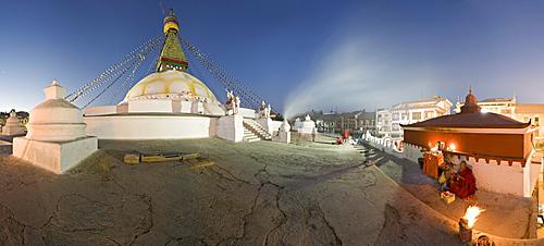 Panoramic image of Boudha, a large Tibetan stupa at Bodhnath, shortly before sunrise on the first day of Lhosar (Tibetan New Year), UNESCO World Heritage Site, Kathmandu, Nepal, Asia
