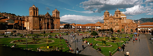 Ancient capital of the Incas the colonial center and the Plaza de Armas with the Cathedral, left and La Compania Church, Cuzco, Highlands, Peru
