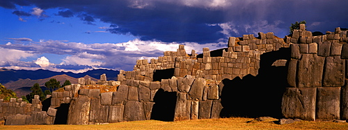 Sacsayhuaman a huge, hilltop, Inca fortress built in the 15thc above Cuzco with zigzag battlements constructed of immense stones, Highlands, Peru