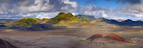 Small red volcano and volcanic hills in Domadalshraun just north of Landmannalaugar, Fjallabak region, Iceland, Polar Regions