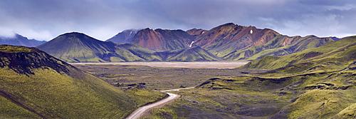 Jokulgilskvisl valley and slopes of Kylingaskard and Nordurbarmur mountains, Landmannalaugar area, Fjallabak region, Iceland, Polar Regions