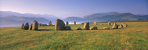 The Neolithic Castlerigg Stone Circle at dawn, near Keswick, Lake District National Park, Cumbria, England, United Kigndom, Europe