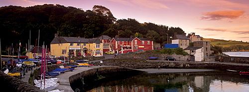 Marine Hotel at sunset, Glandore, County Cork, Munster, Republic of Ireland, Europe
