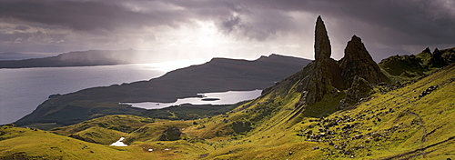 The Old Man of Storr, overlooking Loch Leathan and Raasay Sound, Trotternish, Isle of Skye, Inner Hebrides, Scotland, United Kingdom, Europe