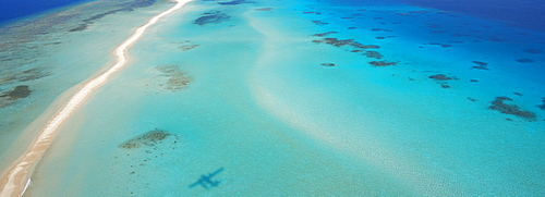 Aerial view of an sandbank and lagoon, Maldives, Indian Ocean, Asia