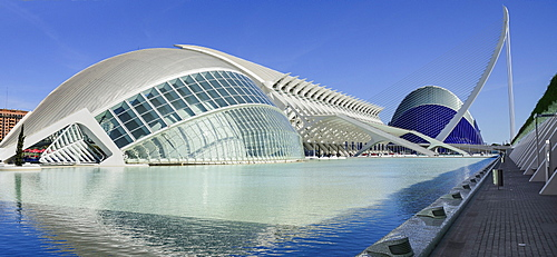 Spain, Valencia Province, Valencia, Spain, Valencia Province, Valencia, La Ciudad de las Artes y las Ciencias, City of Arts and Sciences, L'Hemisferic, Principe Felipe Science Museum, El Pont de l'Assut de l'Or Bridge and Agora.