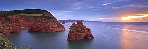 Sunrise over the south coast from Ladram Bay, Jurassic Coast, UNESCO World Heritage Site, Devon, England, United Kingdom, Europe