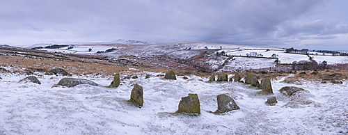 The Nine Maidens, Megalthic stone circle, in winter, on a snow covered Belstone Common, Dartmoor, Devon, England, United Kingdom, Europe