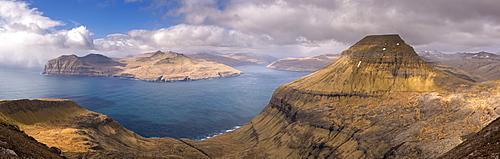 Panoramic vista of Skaelingur mountain, Vagafjordur and Vestmannasund from Sornfelli on the island of Streymoy, Faroe Islands, Denmark, Europe