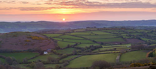 Beautiful sunrise over rolling countryside near Chagford, Dartmoor National Park, Devon, England, United Kingdom, Europe