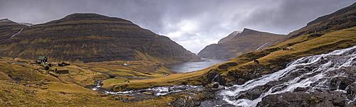 Spectacular mountain scenery at Saksun on the island of Streymoy in the Faroe Islands, Denmark, Europe
