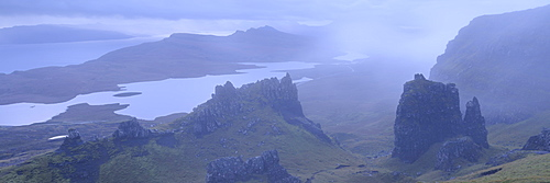 Dramatic rocky outcrops near the Old Man of Storr at dawn, Isle of Skye, Inner Hebrides, Scotland, United Kingdom, Europe