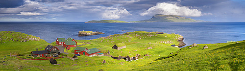 Looking towards the island of Nolsoy from Hoyvik, Faroe Islands, Denmark, Europe