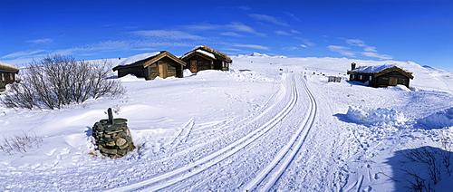 Brekkeseter, hotel and cabins, Hovringen, Rondane National Park, Oppland, Norway, Scandinavia, Europe