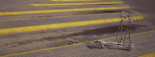Baggage trolley, Ibiza Airport, Spain, Europe