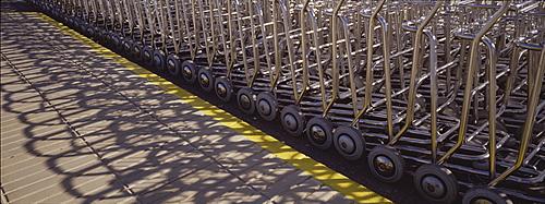 Baggage trolleys, Ibiza Airport, Spain, Europe