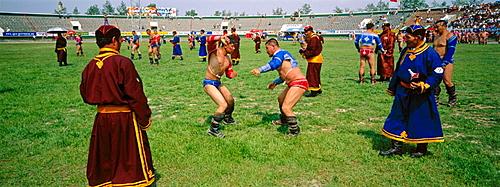 Wrestling tournament, Naadam festival, Tov province, Mongolia