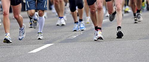 Marathon runners, running shoes