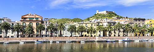 Bosa on the Temo River with a palm-lined promenade, Oristano Province, Sardinia, Italy, Europe