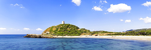 Sandy bay of Torre di Chia with the Saracen Tower with the same name on the Costa del Sud, Sulcis Province, Sardinia, Italy, Europe